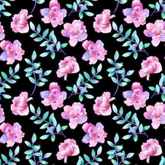 Hermosas flores de color rosa púrpura y ramas de color verde púrpura. patrón floral sin fisuras. ilustración acuarela dibujada a mano. textura para impresión, tela, textil, papel tapiz.