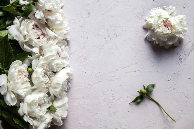 Hermosas flores de peonía con espacio de copia para la vista superior del texto y estilo plano.