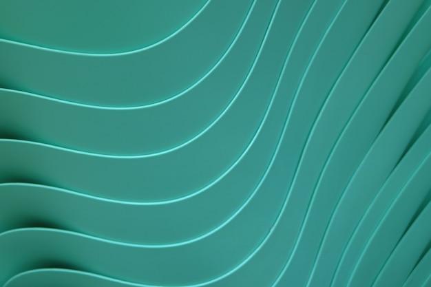 Hermosas líneas curvas de tazones de plástico color verde azulado apilados.