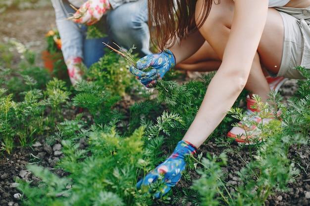 Hermosas mujeres trabaja en un jardín.
