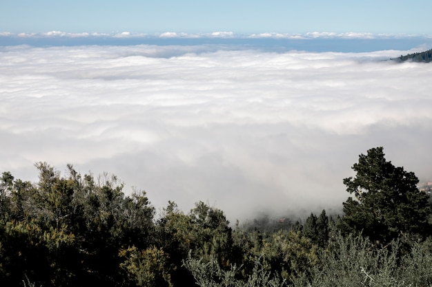 Hermosas nubes blancas sobre las montañas