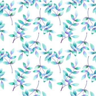 Hermosas ramas con hojas verde azul violeta. patrón sin costuras. ilustración acuarela dibujada a mano. textura para impresión, tela, textil, papel tapiz.