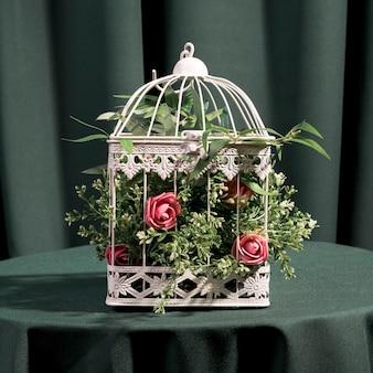 Hermosas rosas en jaula blanca.