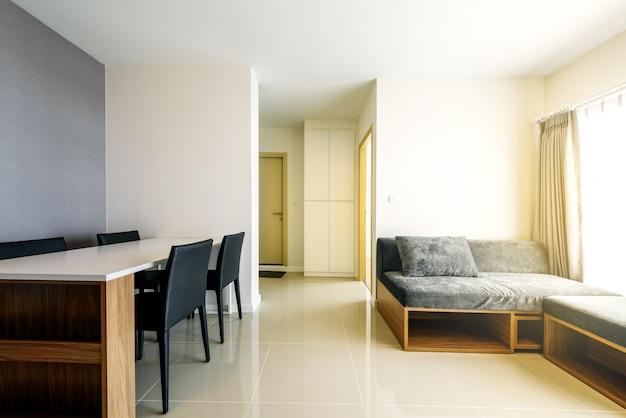 Hermoso apartamento moderno interior, sala de estar contemporánea