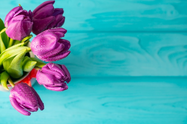 Hermoso bouquest de tulipanes púrpura fresco sobre fondo de madera azul, tarjeta de vacaciones