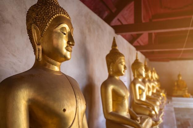 Hermoso buda de oro muchas estatuas en wat phra si rattana mahathat