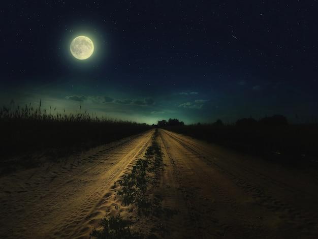Hermoso cielo nocturno mágico con luna llena y estrellas y camino retrocediendo en la distancia con hierba verde