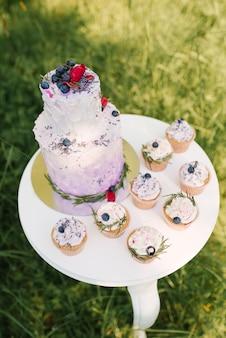 Hermoso elegante delicioso pastel de bodas con bayas y pastelitos en mesa blanca y fondo de naturaleza, enfoque selectivo