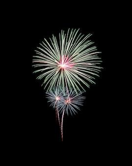 Hermoso espectáculo de fuegos artificiales verdes en el cielo nocturno