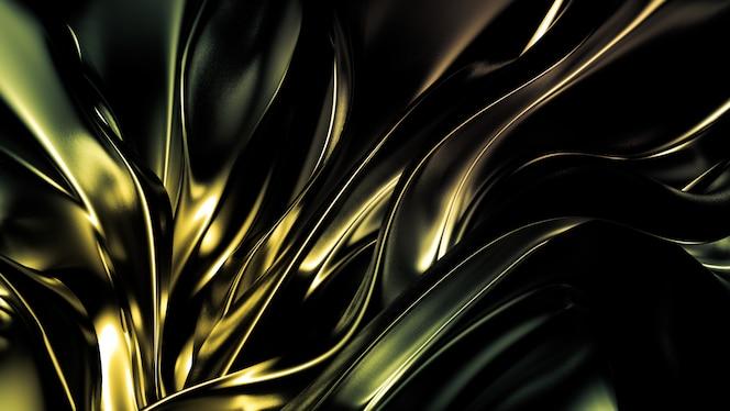 hermoso fondo de color verde amarillo con pliegues, rizos y salpicaduras. representación 3d