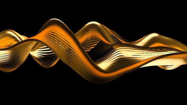 Hermoso fondo negro con brillo dorado. ilustración 3d, renderizado 3d.