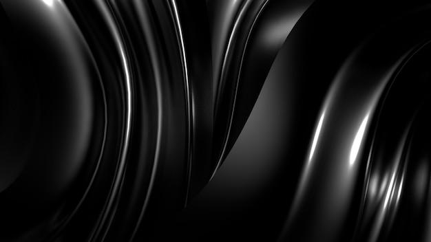 Hermoso fondo negro con estilo con pliegues, cortinas y remolinos.