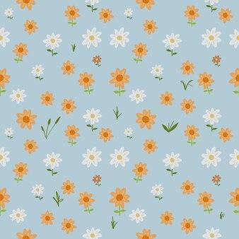 Hermoso fondo transparente de flores y hojas, papel tapiz floral de arte de ilustración y patrón de tela