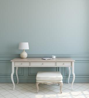 Hermoso interior moderno con mesa blanca y otomana junto a la pared azul vacía. render 3d.