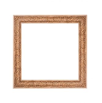 Hermoso marco dorado aislado sobre fondo blanco.