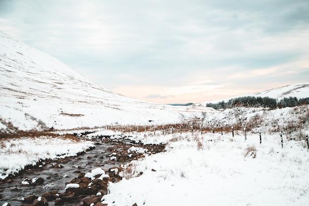 Hermoso paisaje de colinas blancas y bosques en el campo durante el invierno