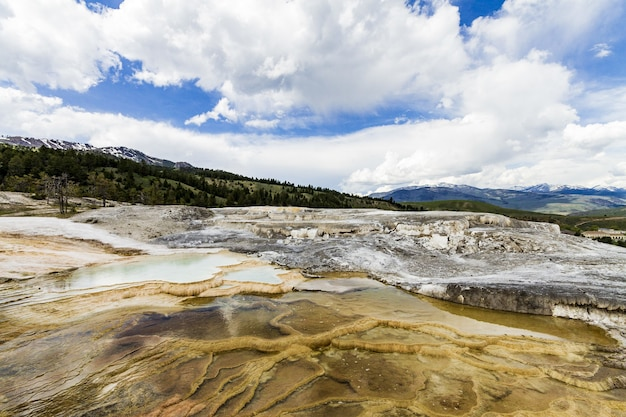 Hermoso paisaje de manantiales del parque nacional de yellowstone en los estados unidos