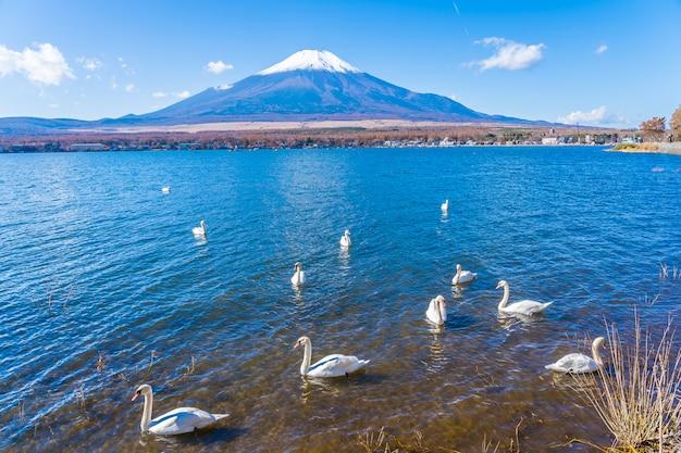 Hermoso paisaje de montaña fuji alrededor del lago yamanakako