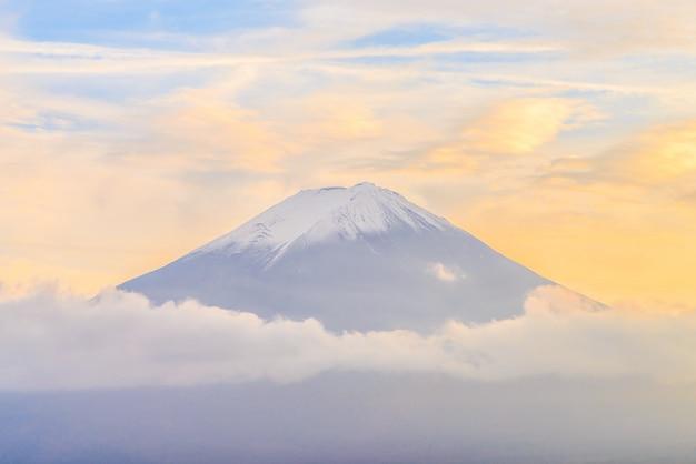 Hermoso paisaje con montaña nevada