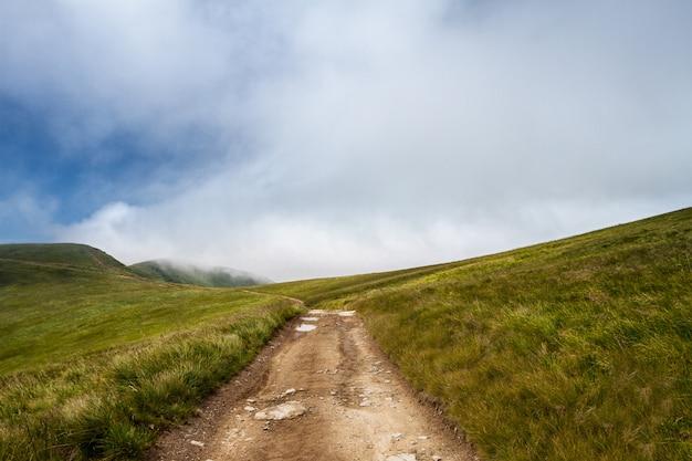 Hermoso paisaje de montañas de los cárpatos ucranianos y cielo nublado.