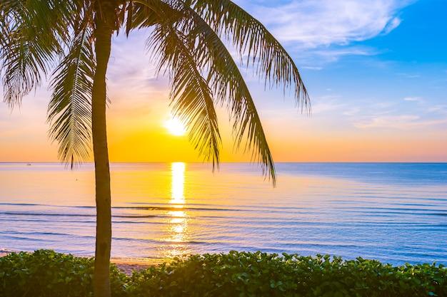 Hermoso paisaje de naturaleza al aire libre de mar y playa con palmera de coco.