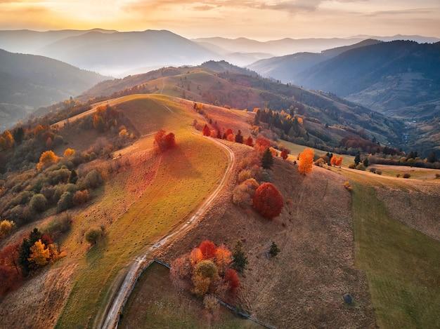 Hermoso paisaje otoñal de montaña con prado y bosque colorido. árboles rojos, amarillos, naranjos en las laderas. parque nacional natural synevyr, cárpatos, ucrania, europa.