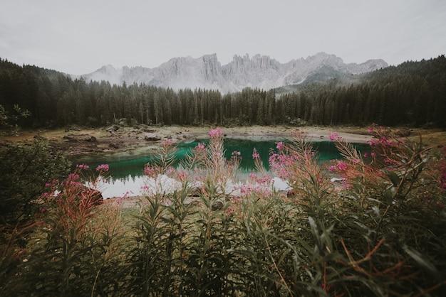 Hermoso paisaje rodado en los alpes italianos con lagos de montaña