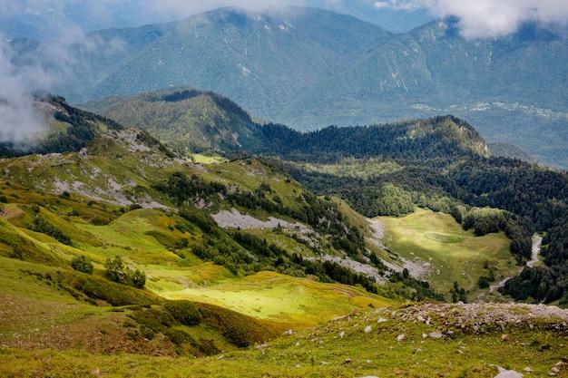 Hermoso paisaje de verano de montañas con prados alpinos