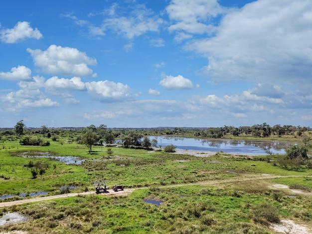 Hermoso paisaje verde con un pantano bajo un cielo nublado