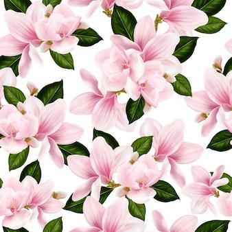 Hermoso patrón de colores con flores y hojas de magnolia