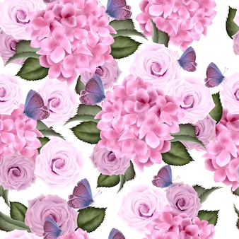 Hermoso patrón de colores con hortensias y flores rosas