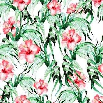 Hermoso patrón transparente acuarela con hojas tropicales y flores de hibisco.