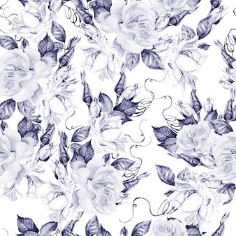 Hermoso patrón transparente acuarela con rosas y capullos.