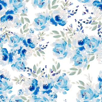 Hermoso patrón transparente de acuarela con rosas y flores de peonía.
