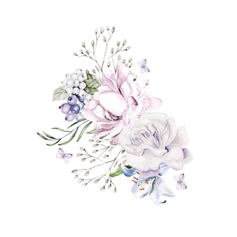 Hermoso ramo de acuarela con flores de peonía orquídeas
