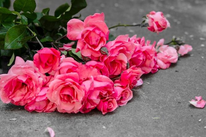 Hermoso ramo de rosas rosadas en el piso de hormigón. flores no metalicas para tarjetas de felicitación