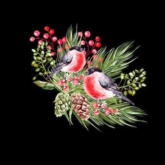 Hermoso ramo navideño de acuarela con pájaros camachuelo
