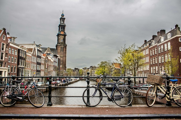 Hermoso tiro de bicicletas se inclinó de nuevo la valla en un puente sobre el río