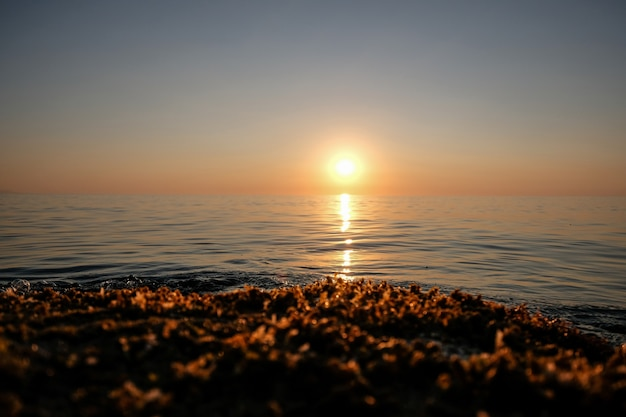 Hermoso tiro de mar con olas y sol en una distancia con cielo despejado al atardecer