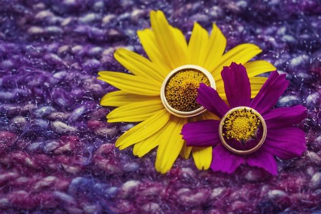 Hermosos anillos de boda dorados.