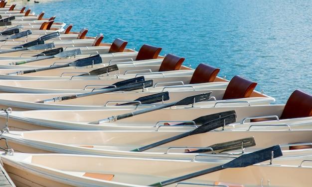 Hermosos barcos blancos con remos en versalles