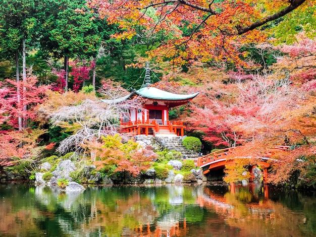 Hermosos y múltiples colores de arces en el templo daigoji con estanque sobre fondo de cielo azul claro