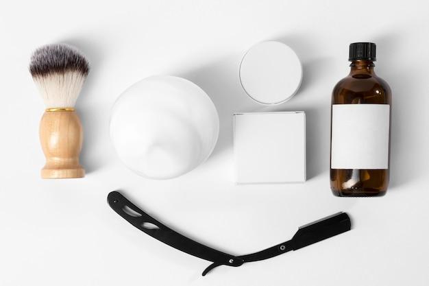 Herramientas para el cuidado de la barba vista superior.