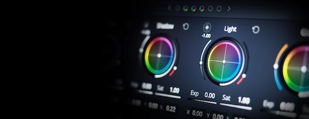 Herramientas de gradación de color o indicador de corrección de color rgb en el monitor en el proceso de posproducción teleci