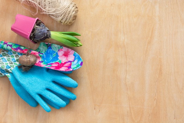 Herramientas de jardín, guantes y plantas en mesa de madera