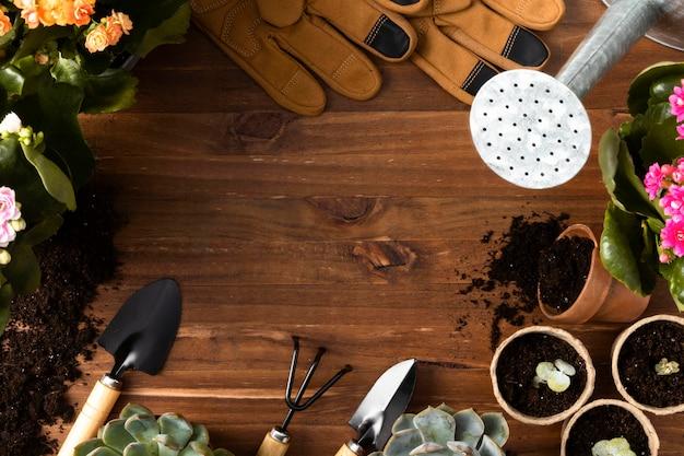 Herramientas para jardinería marco