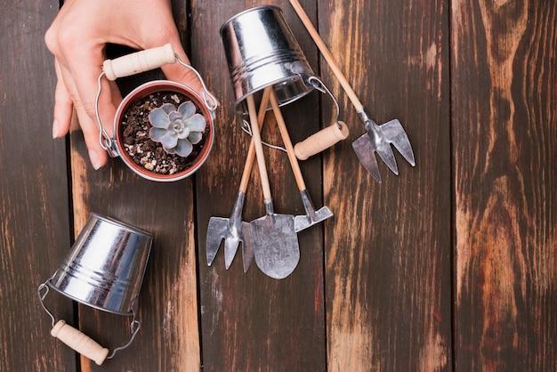 Herramientas de jardinería en miniatura en mesa de madera