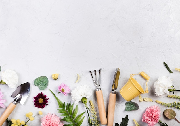Herramientas de jardinería y plantas planas