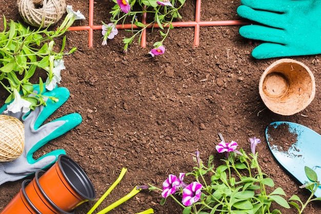 Herramientas de jardinería sobre la tierra vista desde arriba