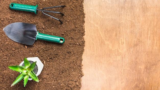 Herramientas de jardinería sobre la tierra visto desde arriba
